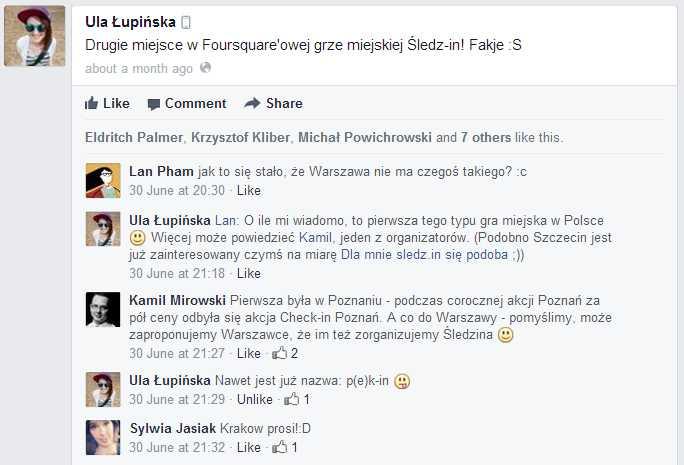 Ula Łupińska - Drugie miejsce w Foursquare'owej grze miejskiej...